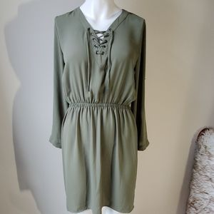 Pullover dress with front crisscross tie